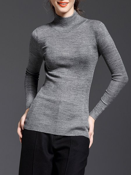 Gray Basic Stand Collar Long Sleeved Top