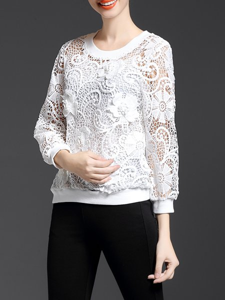 White Floral Crew Neck Two Piece Pierced Long Sleeved Top