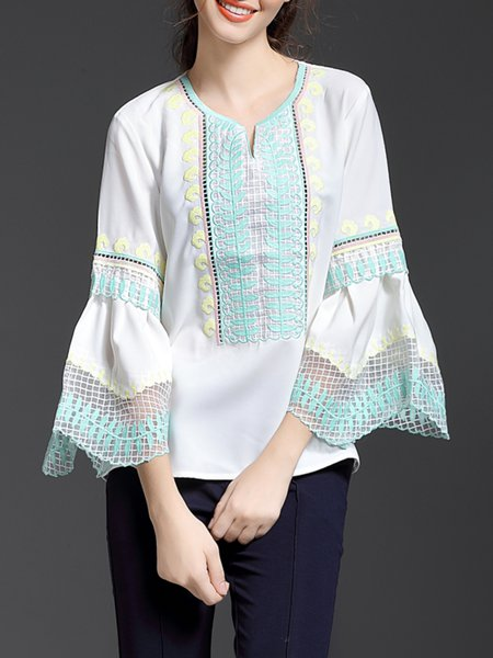 Frill Sleeve Casual Cotton Embroidered Long Sleeved Top