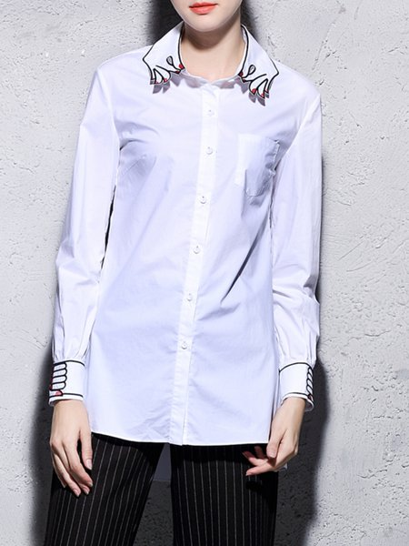 Shirt Collar Long Sleeve Embroidered Simple Blouse