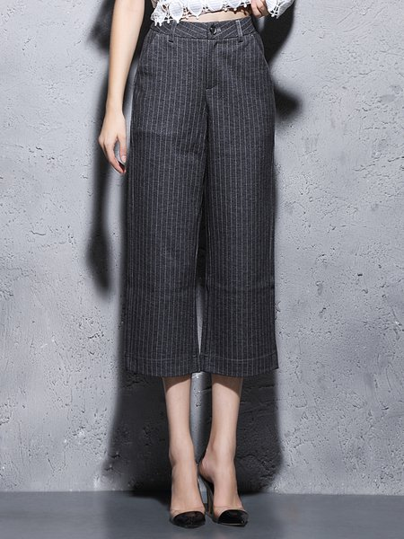 Gray H-line Stripes Printed Simple Wide Leg Pants
