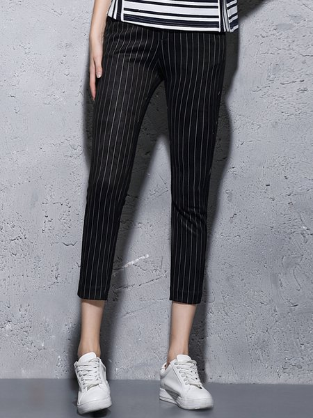 Black Stripes Cotton-blend Printed Simple Skinny Leg Pants