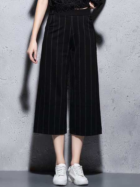 Black Stripes Simple Printed Wide Leg Pants