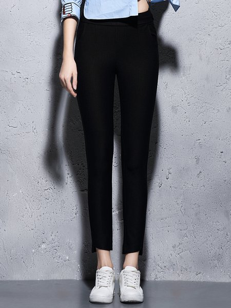 Black Plain H-line Casual Skinny Leg Pants