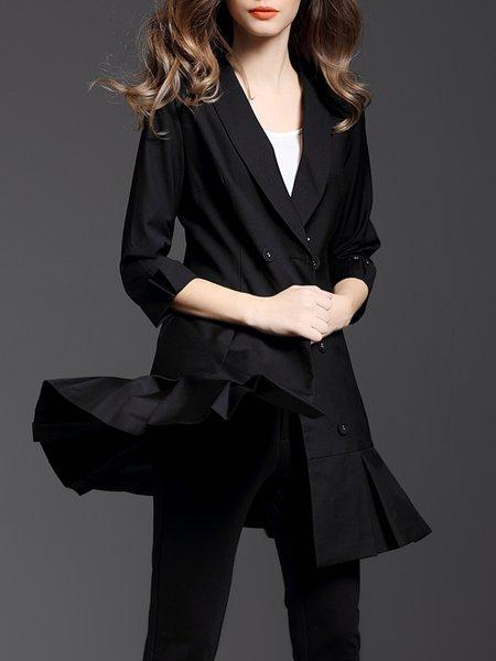 Black Lapel Ruffled 3/4 Sleeve Blazer