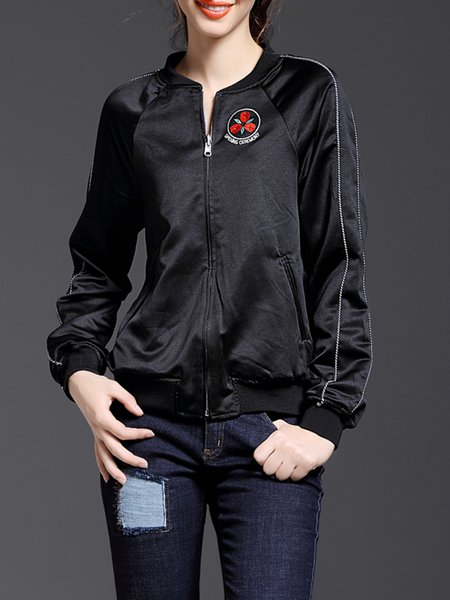 Long Sleeve Plain Casual Pockets Stand Collar Bomber Jacket