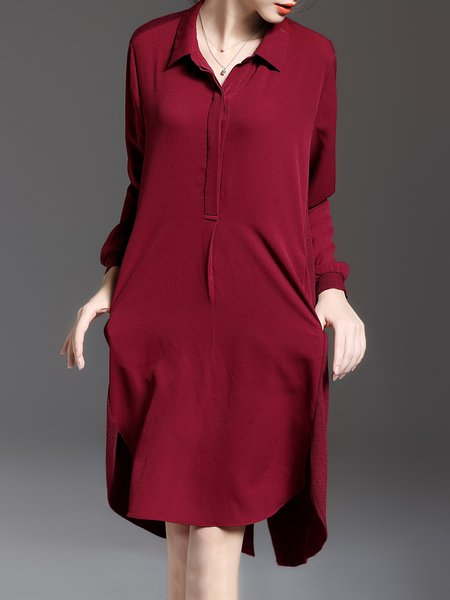 Wine Red High Low Plain Simple Shirt Collar Shirt Dress