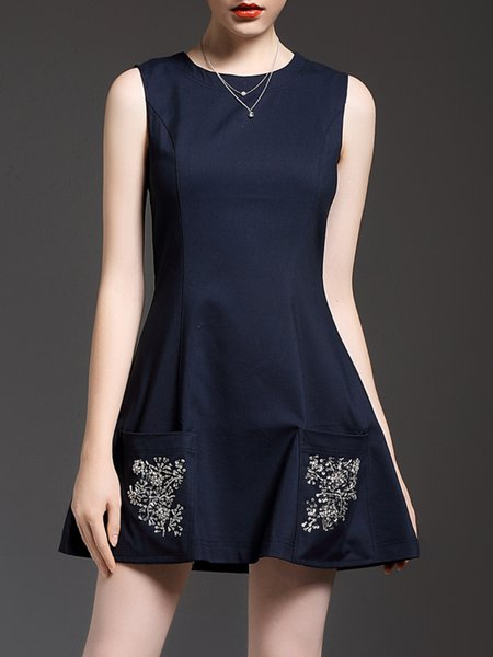 Sleeveless Basic Beaded Cotton-blend Mini Dress