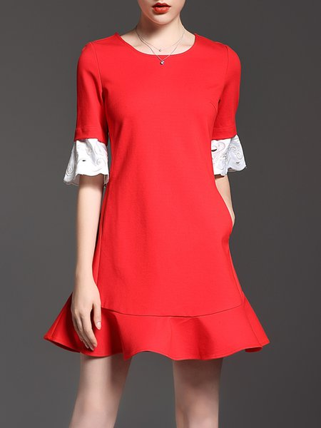 Girly Flounce Frill Sleeve Cotton-blend Midi Dress