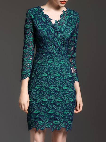 3/4 Sleeve V Neck Elegant Sheath Crocheted Midi Dress