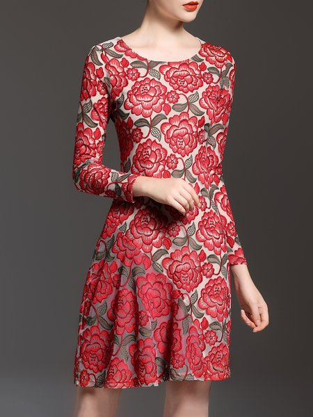 Red Crew Neck Vintage Embroidered Floral Mini Dress