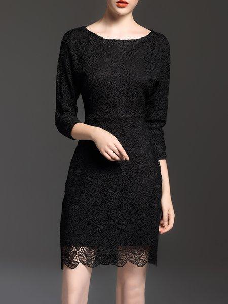3/4 Sleeve Elegant Crocheted Mini Dress