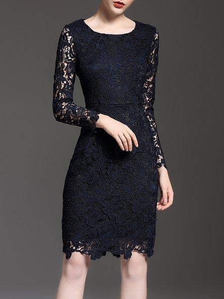 Black Sheath Crocheted Long Sleeve Crew Neck Midi Dress
