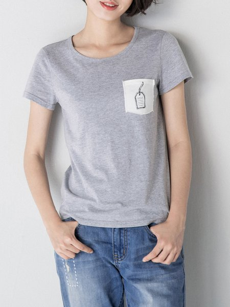 H-line Cotton Paneled Short Sleeve T-Shirt