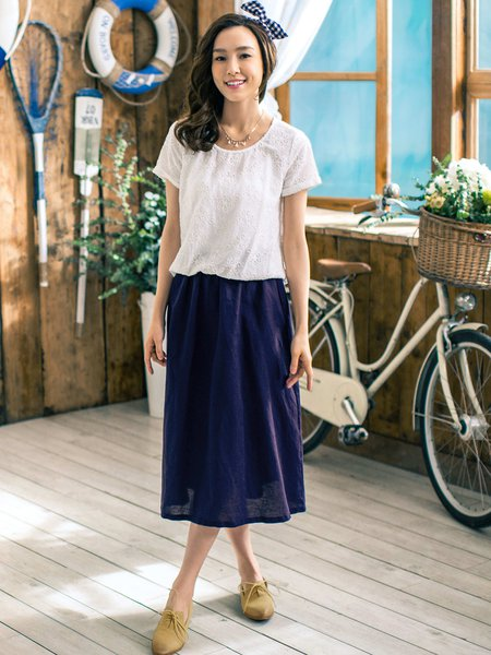 Embroidered Paneled Casual Short Sleeve Cotton Midi Dress