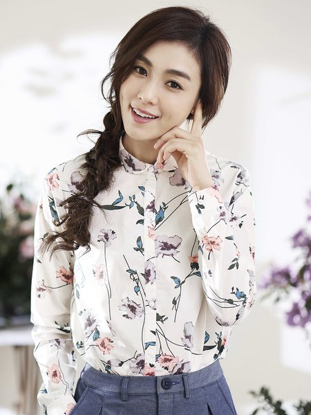 Long Sleeve Shirt Collar Printed Casual Floral Blouse