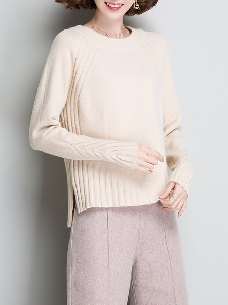 Long Sleeve Crew Neck Casual Solid Sweater