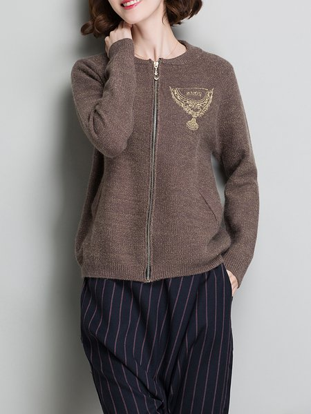 Embroidered Long Sleeve Cardigan