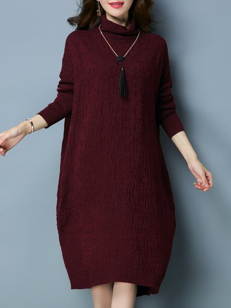 Casual Cowl Neck Sweater Dress