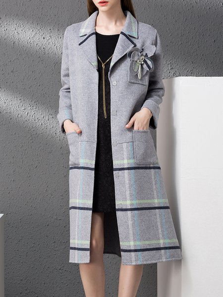 Wool Long Sleeve Simple Stripes Pockets Lapel Coat