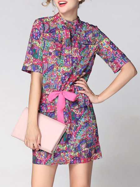 Multicolor Short Sleeve Printed Polyester Stand Collar Midi Dress