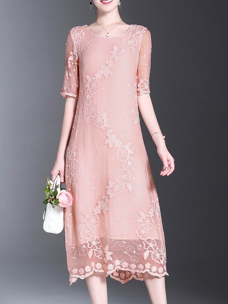 Half Sleeve Polyester Casual Floral Embroidered Midi Dress