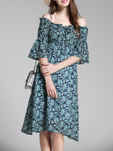 Blue Off Shoulder Casual Printed Midi Dress