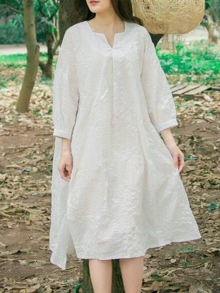 V Neck Shift 3/4 Sleeve Midi Dress
