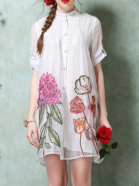 Stand Collar Short Sleeve Floral Casual Midi Dress