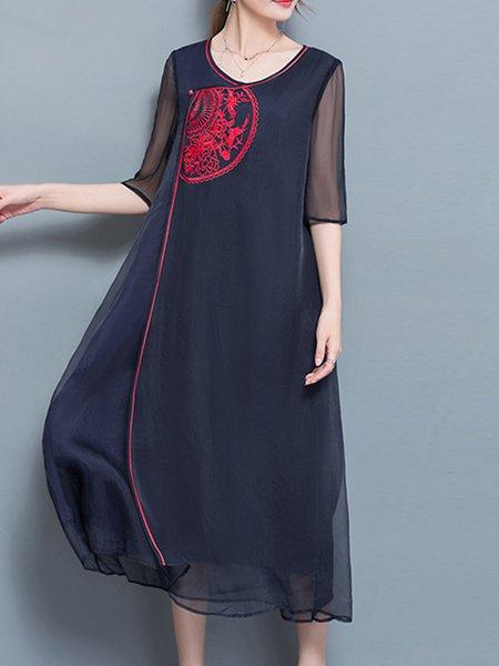Polyester Embroidered Half Sleeve Vintage Crew Neck Midi Dress