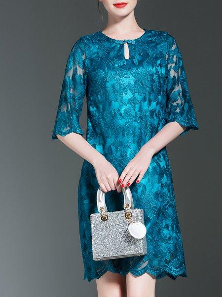 Aqua Guipure Lace Elegant Midi Dress