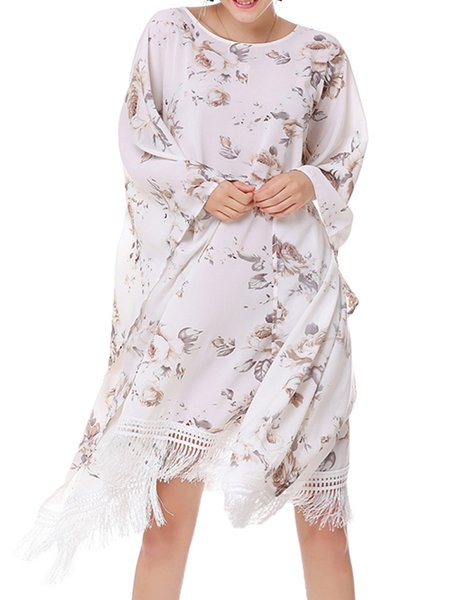 Girly Fringed  Floral Batwing Midi Dress