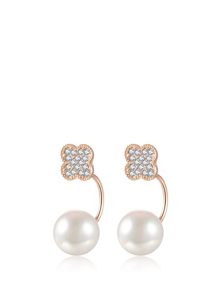 Rose Gold Alloy Geometry Zircon Earrings