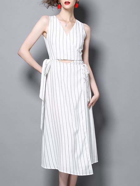 White Sleeveless A-line V Neck Striped Cut out Midi Dress