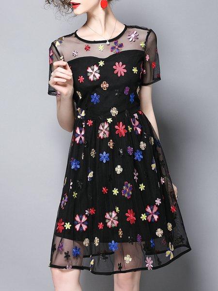Black Shorts Sleeve Floral A-line Paneled  Midi Dress