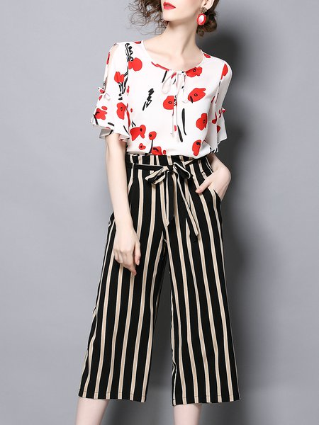 Half Sleeve Scoop Neckline Casual Floral Print Striped Top With Pants