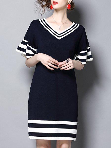 Frill Sleeve V Neck Stripes Midi Dress