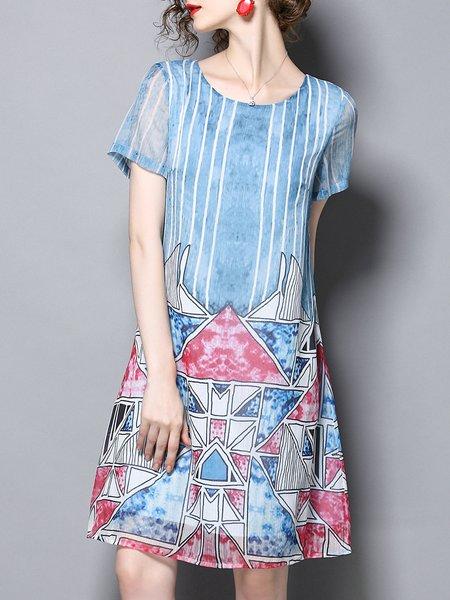 Light Blue Printed Shift Shorts Sleeve Midi Dress