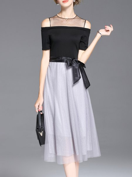 Black Cold Shoulder See-through Look Midi Dress With Belt