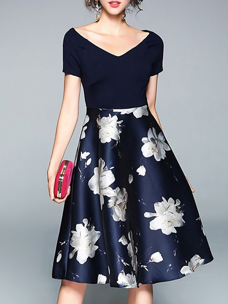 Dark Blue Swing Elegant Floral Midi Dress