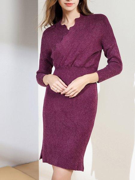 Solid Elegant Slit Surplice Neck Sweater Dress