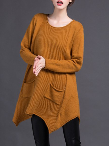 Long Sleeve Solid Casual Polyester Sweater