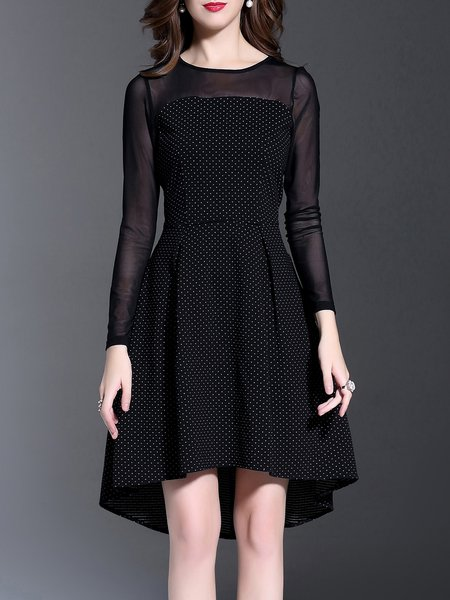 Black Elegant High-low Paneled Polka Dots Midi Dress
