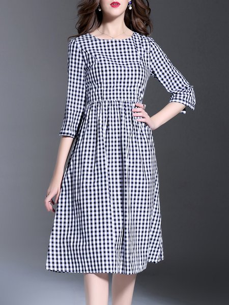Black Checkered/Plaid Casual Midi Dress