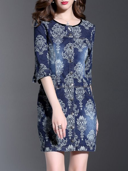 Blue Half Sleeve Floral Crew Neck Pockets Mini Dress