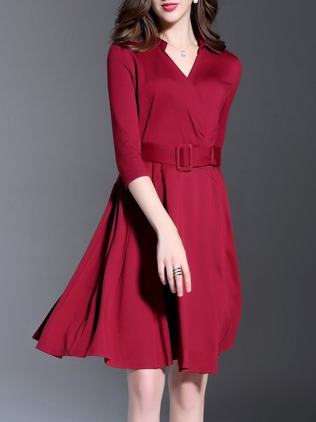 Red Simple Plain Petite Midi Dress
