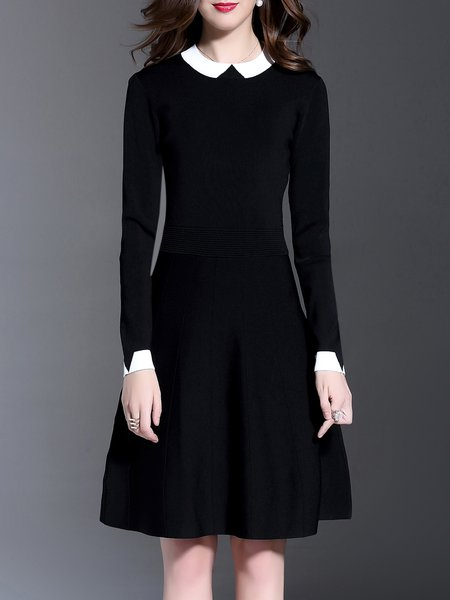 Black Casual A-line Color-block Knitted Midi Dress