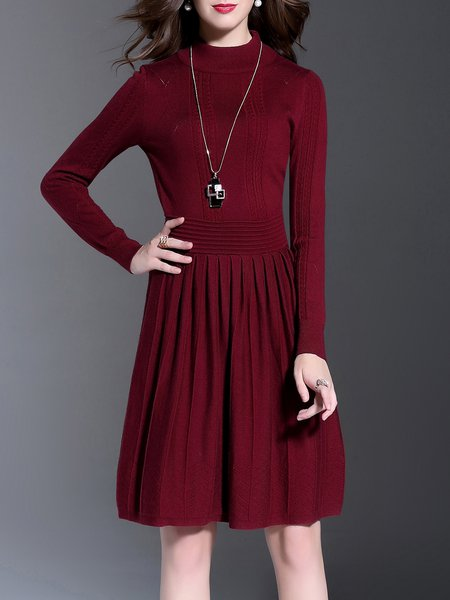 Long Sleeve Wool Blend A-line Casual Turtleneck Midi Dress