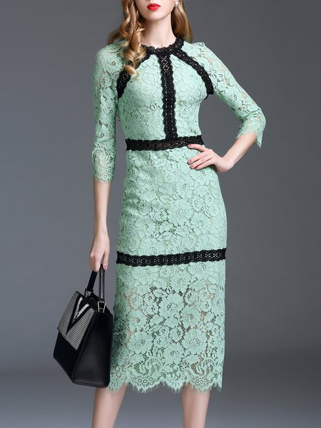 Green 3/4 Sleeve Pierced Crocheted Midi Dress