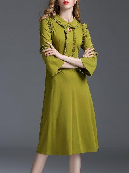 Green A-line Ruffled Elegant Midi Dress